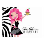311 Dollface Desserts Pinkie Zebra Postcard