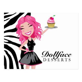 311 Dollface Desserts Pinkie Zebra Post Card