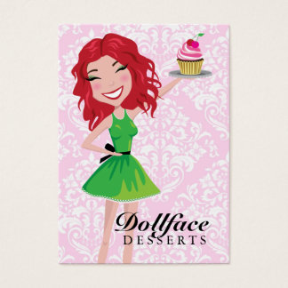 311 Dollface Desserts Rubie Pink Damask 3.5 x 2 Business Card