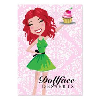 311 Dollface Desserts Rubie Pink Damask 3.5 x 2 Large Business Card