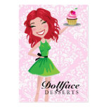311 Dollface Desserts Rubie Pink Damask 3.5 x 2 Large Business Cards (Pack Of 100)