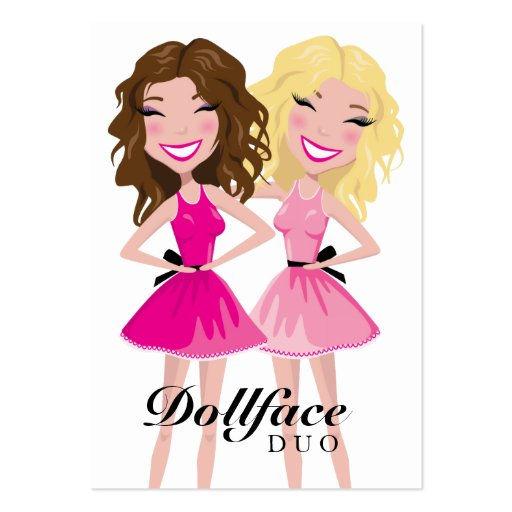 311 Dollface Duo Brunette Blonde Business Card Template