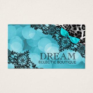 311 Dream in Leopard & Lace Aqua Pearl Paper Business Card