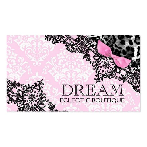 311 Dream in Leopard & Lace Girly Pink Business Card Template