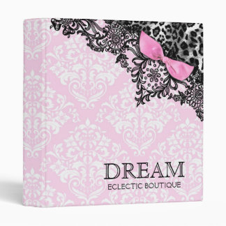 311 Dream in Leopard & Lace Girly Pink Damask 3 Ring Binders