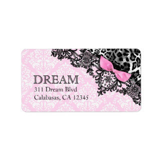 311 Dream in Leopard & Lace Girly Pink Damask Address Label