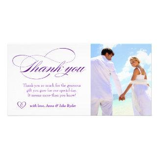 311 elegantes púrpuras le agradecen corazón de la  tarjeta con foto personalizada
