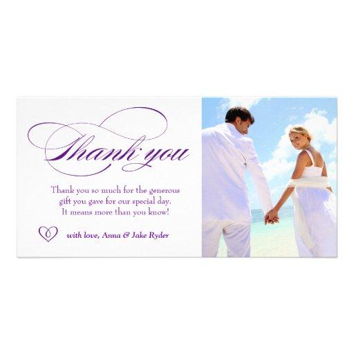 311 elegantes púrpuras le agradecen corazón de la  tarjeta fotográfica personalizada
