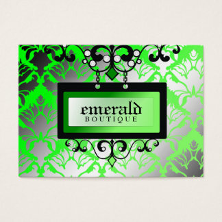 311-Emerald Boutique Sign | Damask Shimmer Business Card