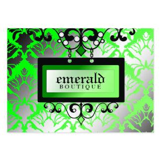 311-Emerald Boutique Sign | Damask Shimmer Large Business Card