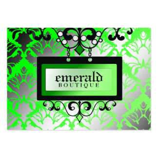 311 Emerald Boutique Sign Damask Shimmer Large Business Card