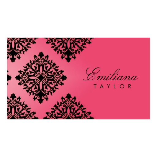 311 Emiliana Passion Pink & Black Damask Business Cards