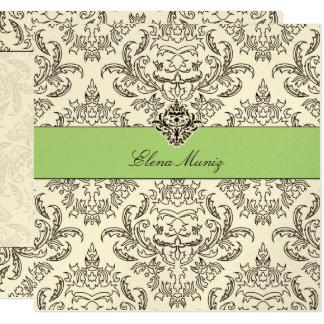 311-Emmy Damask - Kiwi Cream Card