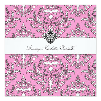 311-Emmy Pink Damask Invitation