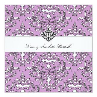 311-Emmy Purple Damask Invitation