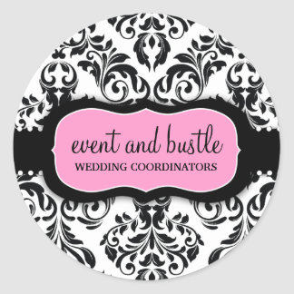 311 Event & Bustle White Damask Round Stickers
