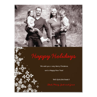 311-Falling Snow | Brown Christmas Photo Card