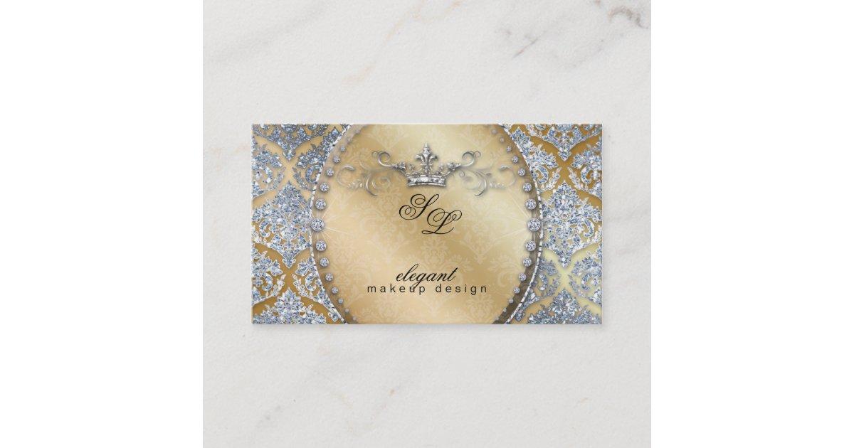 311 Fashion Jewelry Makeup Artist Damask Crown Coo Business Card Zazzle Com