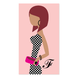 311 Fashionista Powder My Nose Pink Red Head Bob Double-Sided Standard Business Cards (Pack Of 100)