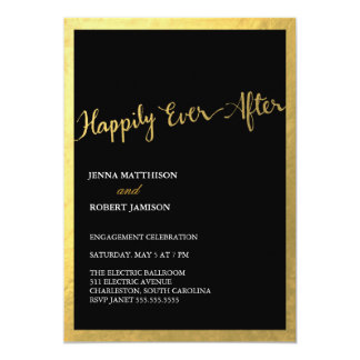 """311 Faux Gold Foil Happily Ever After 5"""" X 7"""" Invitation Card"""