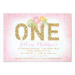 311 Faux Gold Glitter One First Birthday Card