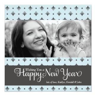 """311 Feliz Año Nuevo azul y gris punteada del Invitación 5.25"""" X 5.25"""""""