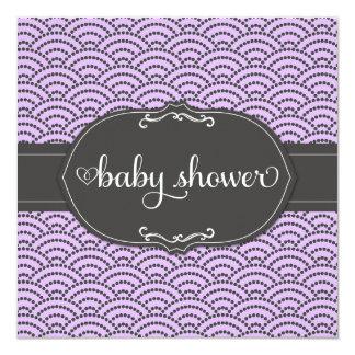 """311 fiesta de bienvenida al bebé púrpura y gris invitación 5.25"""" x 5.25"""""""