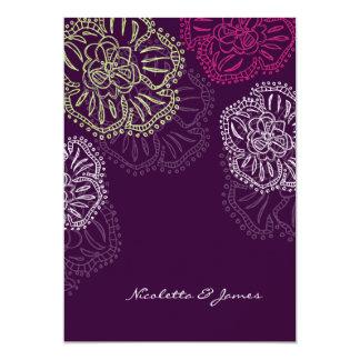 311-Floral Flatter Invitation   Purple