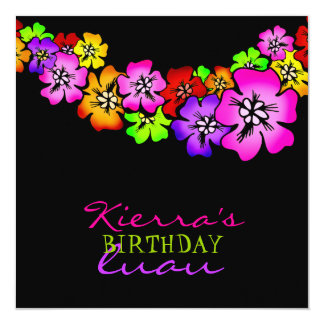311 Flower Shower Lei Invitation Black