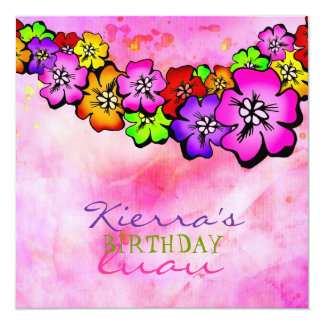 311 Flower Shower Lei Invitation | Pink Tye Dye