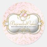 311 fondo rosado Bejeweled Bella de las tortas | Pegatina Redonda