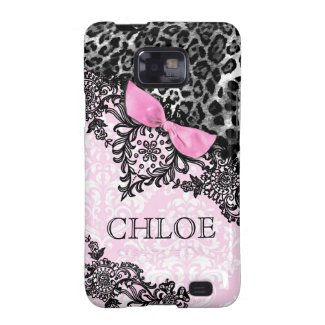 311 Galaxy Dream in Leopard & Lace Girly Pink Dama Galaxy S2 Covers