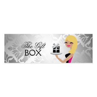 311 Gift Box Cutie Wavy Blonde Damask Business Card Templates