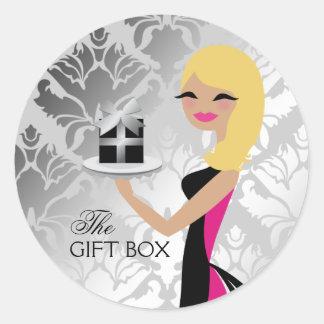 311 Gift Box Cutie Wavy Blonde Damask Classic Round Sticker