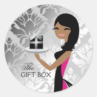 311 Gift Box Cutie Wavy Brunette Medium Skin Tone Classic Round Sticker