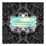 """311 Glam Aqua Lime Damask Diamonds 5.25"""" Square Invitation Card"""