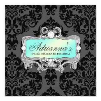 311 Glam Aqua Lime Damask Diamonds 5.25x5.25 Square Paper Invitation Card
