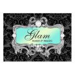 311 Glam Crazy Aqua Black Damask Large Business Cards (Pack Of 100)