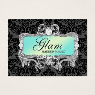 311 Glam Crazy Aqua Black Damask Business Card
