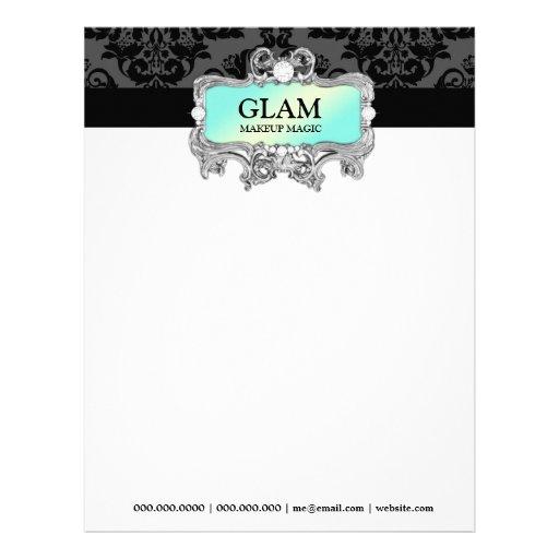 311 Glam Crazy Aqua Letterhead Damask