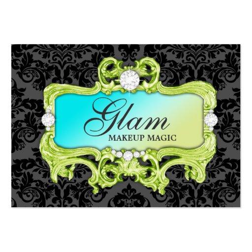 311 Glam Crazy Lime Aqua Gold Damask Large Business Cards (Pack Of 100)
