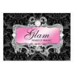 311 Glam Crazy Pink Black Damask Large Business Cards (Pack Of 100)