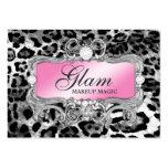 311 Glam Crazy Pink Black Leopard Large Business Cards (Pack Of 100)