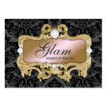 311 Glam Crazy Pink Gold Damask Large Business Card