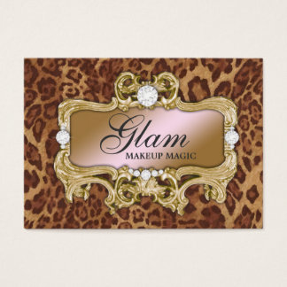311 Glam Crazy Pink Gold Leopard Business Card