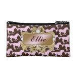 311 Glamorous Cowgirl Pink Horse Print Cosmetic Bag