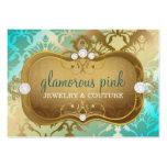 311 Glamorous Golden Ocean Damask Business Card Templates