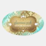 311 Glamorous Golden Ocean Damask Oval Sticker