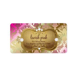 311 Glamorous Golden Pink Damask Label