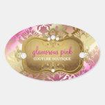 311 Glamorous Golden Pink Damask Oval Sticker